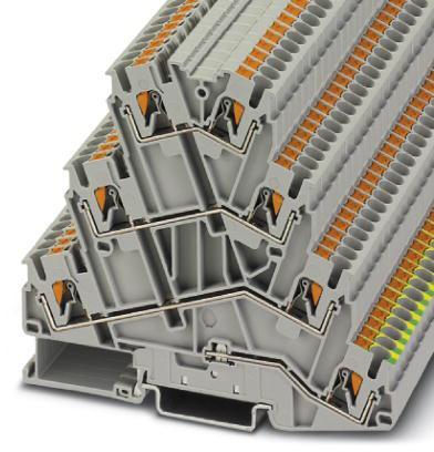 Phoenix Contact motorklem, vieretage, push-in, doorsnede 0,14 - 4 mm2, breedte: 5,2 mm, hoogte: 91,1 mm, kleur: grijs