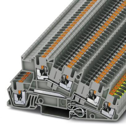 Phoenix Contact installatie-aardklem, push-in, doorsnede: 0,14 - 4 mm2, breedte: 5,2 mm, kleur: grijs, NS 35/7,5, NS 35/15