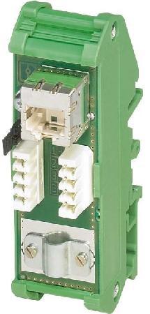 Phoenix Contact patchpanel, twee RJ45-busconnectoren (1:1-bezetting), CAT5e, 10/100/1000 Mbit/s.