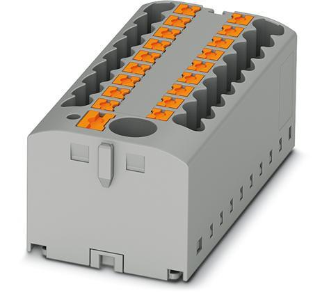 Phoenix Contact verdelerblok, basis, voeding, Push-in, 13x, 0,14-4mm², AWG 26-12, bxh 40,6-21,2mm, grijs, railadapter, adapterplaat