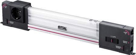 Rittal SZ systeemverlichting LED, 100-240V, B=437mm, 900 lumen, zonder aansluitkabel, RAL7016, met contactdoos geaard