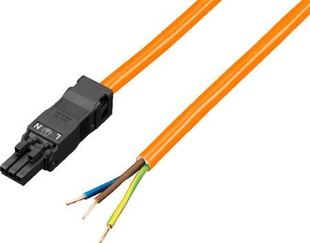 Rittal SZ aansluitkabel (oranje) voor systeemverlichting LED, 3-polig, 100-240 V, L=3000mm