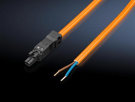 Rittal SZ voedingskabel 100-240V lengte 3m, oranje, 2-polig met contraconnector, zonder aansluitconnector. Verpakt per 5 stuks