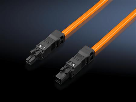 Rittal SZ voedingskabel 100-240V lengte 1m, oranje, 2-polig met contraconnector, zonder aansluitconnector. Verpakt per 5 stuks