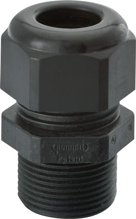 Hummel kabelwartel polyamide M32 zwart met lange tap, geschikt voor 13-20 mm kabeldiameter, IP68