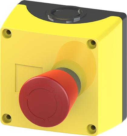ENCLOSURE FOR COMMAND DEVICES, 22MM, ROUND, ENCLOSURE MATERIAL PLASTIC, ENCLOSURE TOP PART YELLOW, A=EMERGENCY STOP, 40MM, 1NC