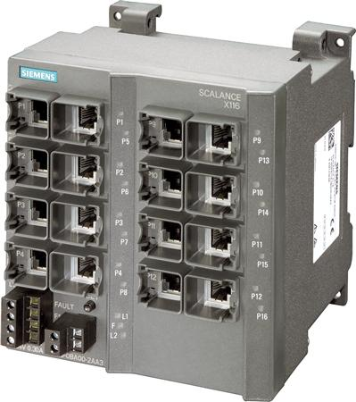 SCALANCE X116, UNMANAGED IE SWITCH, 16 X 10/100MBIT/S RJ45 PORTS, LED DIAGNOSIS, FAULT SIGNAL. , REDUNDANT POWER SUPPLY
