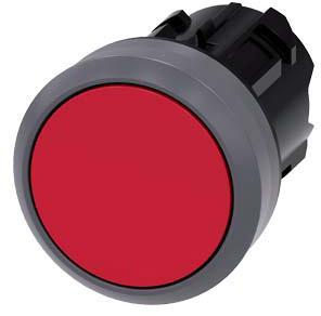 SIEMENS Drukknop, vlak, mat-metalen frontring, houdcontact, rood