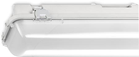 Norton waterdicht slagvast led armatuur 55W/4000K, 6300lm, CRI80-89, breedstralend 40-80°, IP66, 50.000uur, lxbxh 1578x101x101