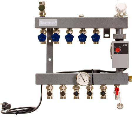 Thermrad VD standaard Vloerverwarming verdeler 4-groeps dubbel afsluitbaar, met energiezuinige pomp
