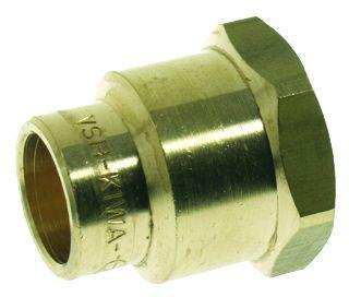 VSH Soldeerfitting, messing, rechte koppeling, schroefbus 15mm x 1/2